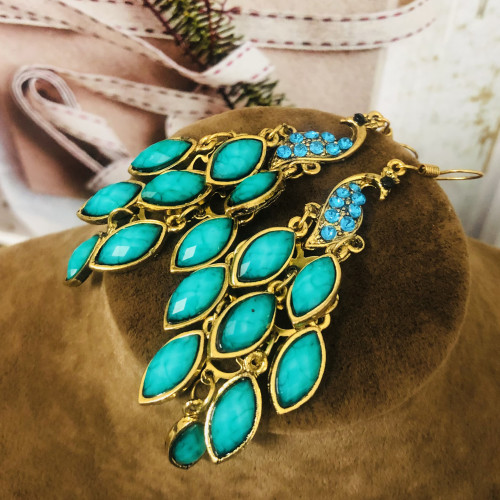 Green Peacock of Huge Heavy Style Drop Earrings 2011230