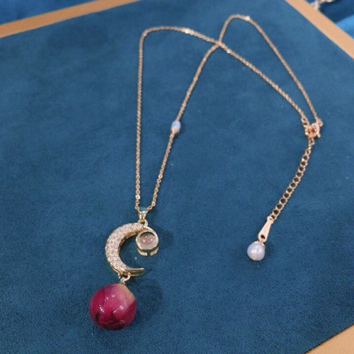 Red Rose of Natural Dried Flower Ancientry Style Necklace PR2012026