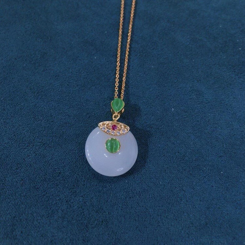 Auspicious Clasp of Chalcedony Ancientry Style Necklace PR2012028