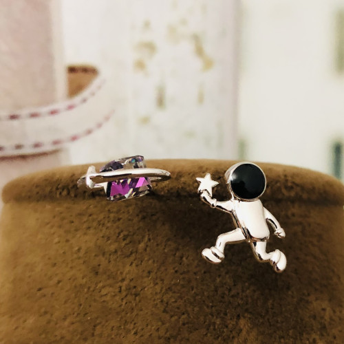 Silver A Star For You Spaceman Fashion Style Stud Earrings 2012002