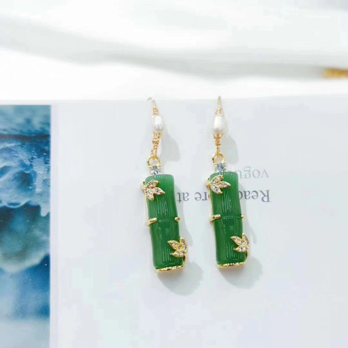 Bamboo of Chalcedony Ancientry Style Drop Earrings PR2012033