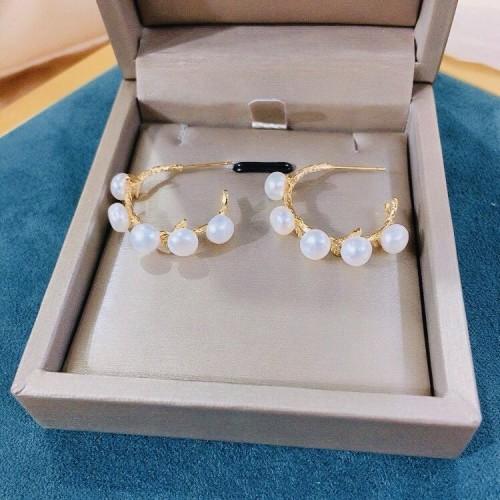 Flower of Freshwater Pearl  Elegant Style Open Hoop Earrings PR2012010