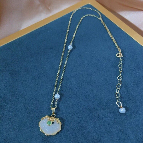 Lock of Good Wishes of Chalcedony Ancientry Style Necklace PR2012027