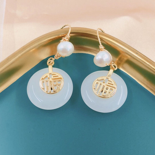 Lucky Character of Chalcedony Ancientry Style Drop Earrings PR2012029