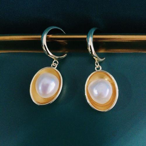 Eggs of Freshwater Pearl Elegant Style Open Hoop  Earrings PR2012008