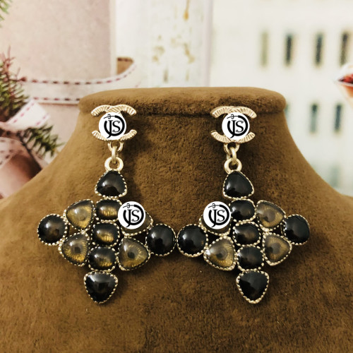 Gray Double C Baroque Surprise Style Drop Earrings 2012007