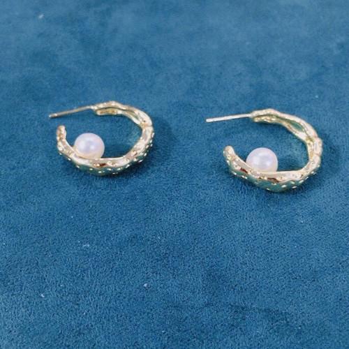 Simple Freshwater Pearl  Elegant Style Open Hoop Earrings PR2012011