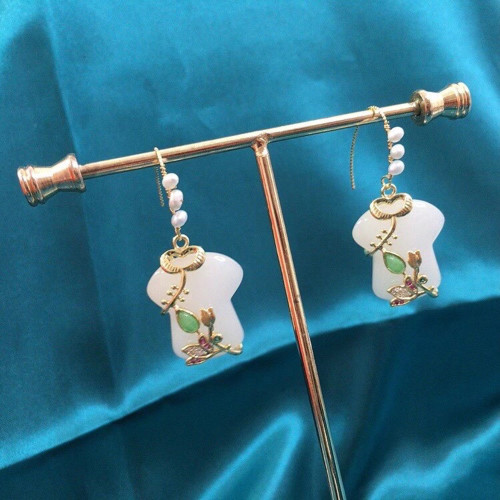 Big Cheongsam of Chalcedony Ancientry Style Drop Earrings PR2012030
