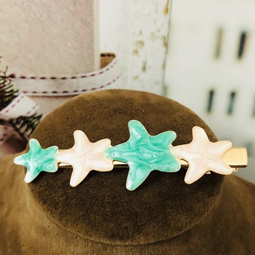Ocean Green Starfish Hair Clips 2012007