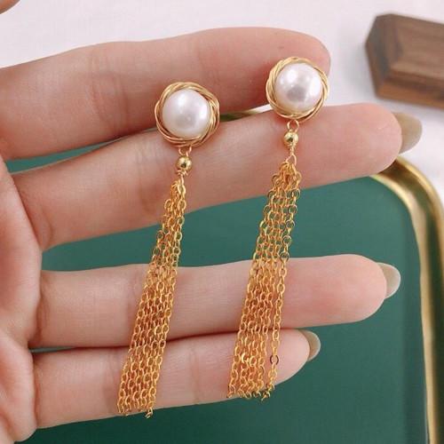 Wire Wrap Freshwater Pearl Elegant Style Tassel Earrings PR2012017