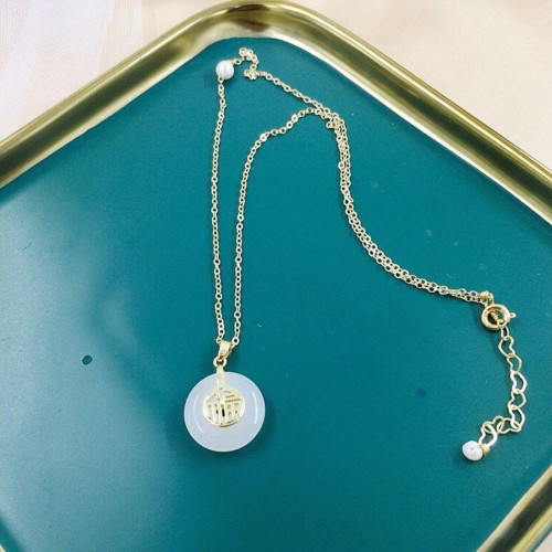 Lucky Character of Chalcedony Ancientry Style Necklace PR2012029