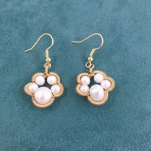 Wire Wrap Bear Claw of Freshwater Pearl Elegant Style Drop Earrings PR2012015