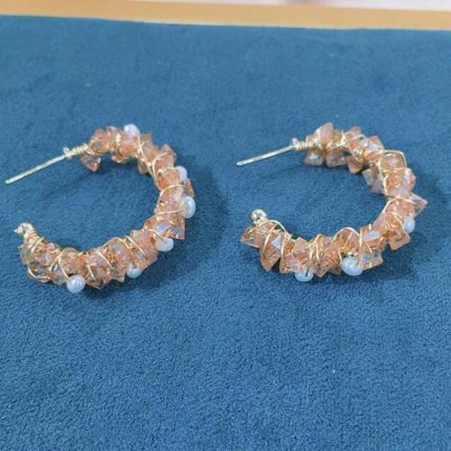 Natural Crystal Wire Wrap Elegant Style Open Hoop Earrings PR2012012