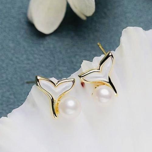 Mermaids of Freshwater Pearl and Shell Elegant Style Stud Earrings PR2012003