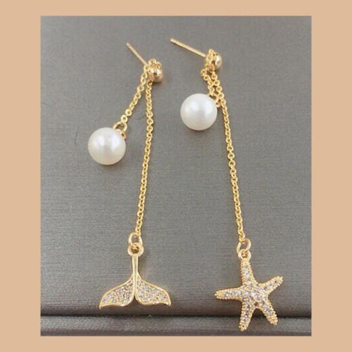 Starfish and Mermaid of Freshwater Pearl Elegant Style Tassel Earrings PR2012016