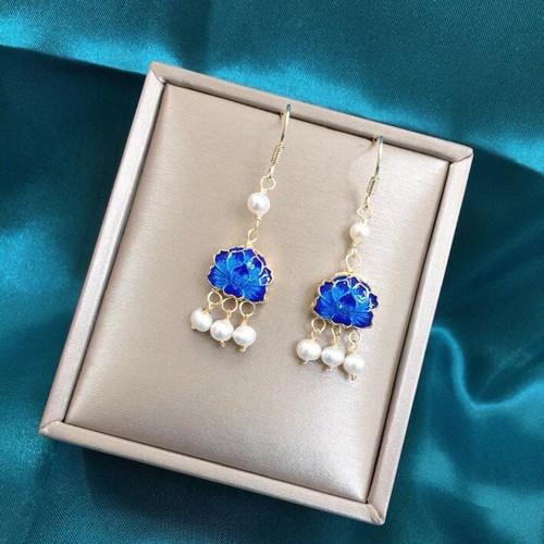 Blue Enamel Lotus Leaf of Freshwater Pearl Ancientry Style Drop Earrings PR2012032