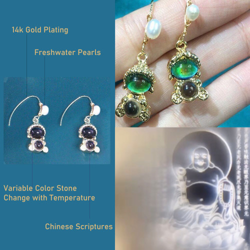 Buddha of Variable Color Stone Change with Temperature Elegant Style Drop Earrings PR2012013