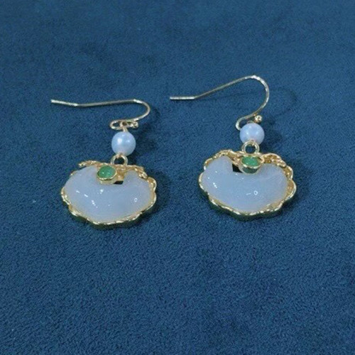 Lock of Good Wishes of Chalcedony Ancientry Style Drop Earrings PR2012027