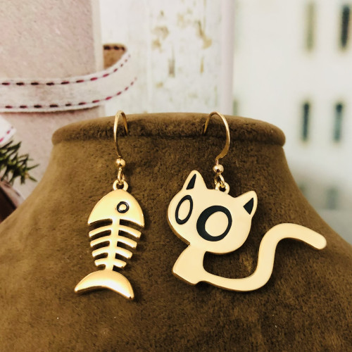 Gold Cat and Fish Fashion Style Drop Earrings 2012005