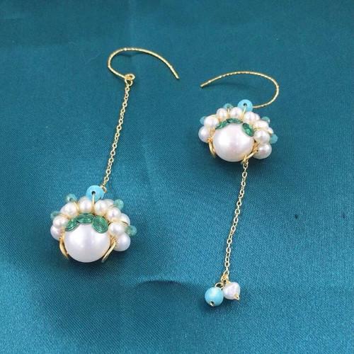 Wire Wrap Peking Opera Blues of Freshwater Pearl Elegant Style Drop Earrings PR2012018