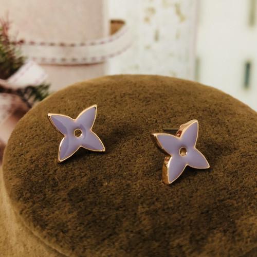 Purple Old Flower Surprise Style Stud  Earrings 2012011