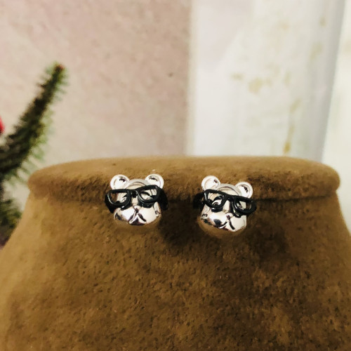 Silver Dog with Glasses  Fashion Style Stud Earrings 2012001