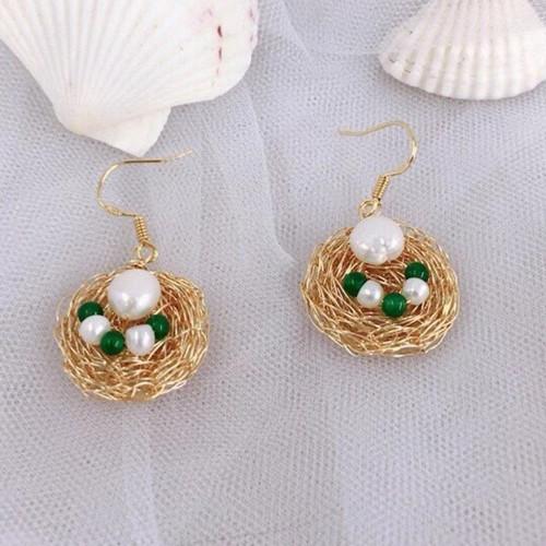 Wire Wrap Bird's Nest of Freshwater Pearl Elegant Style Drop Earrings PR2012014