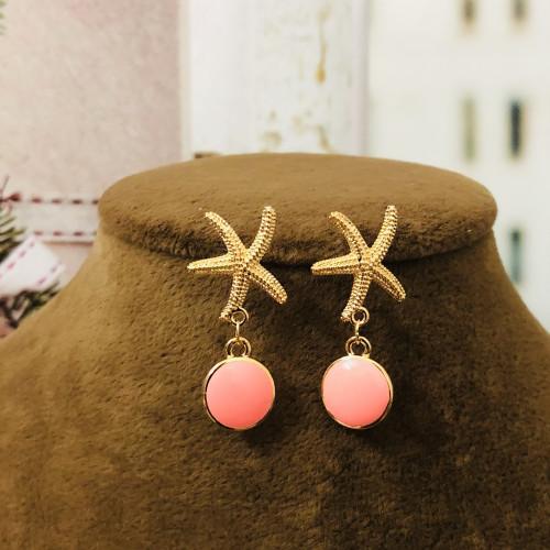 Pink Starfish of Enamel Fashion Style Drop Earrings 2012004