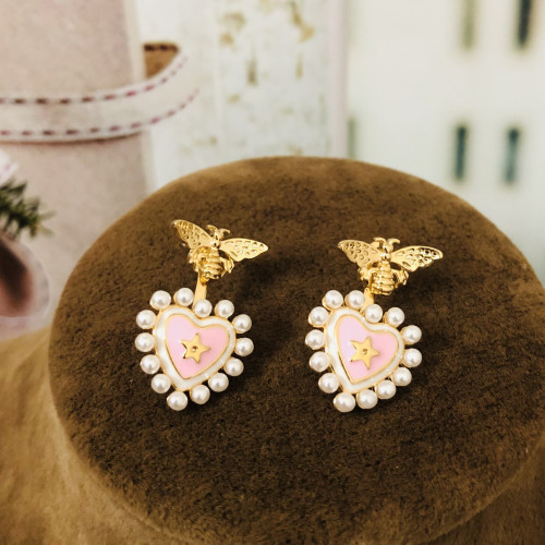 Pink Heart and Bee Fashion Style Stud Earrings 2012006