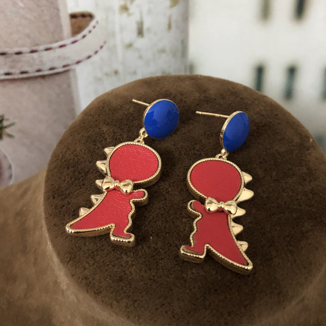 Red Dinosaur of Leather Fashion Style Drop Earrings 2012010