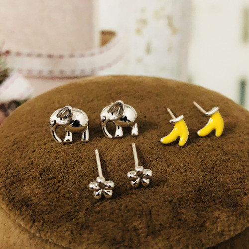 Elephants Bananas and Flowers Earrings Set ES2012007