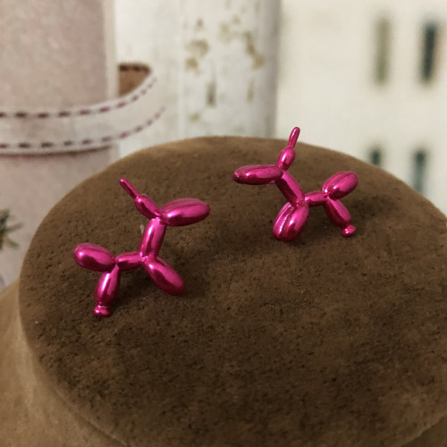 Fuchsia Dog Fashion Style Stud Earrings 2012009