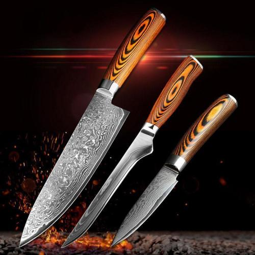 3 pcs kitchen knives set Japanese Damascus steel kitchen knife
