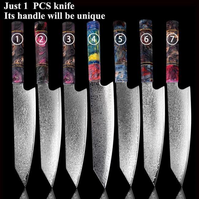 8 Inch Kiritsuke Damascus Steel 67 Layer -Multicolor