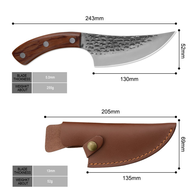 5'' Inch Chefs Boning Knife Stainless Steel Ebony Wood Handle With Cover ( Free Shipping !!! $5 OFF THE FIRST ORDER )