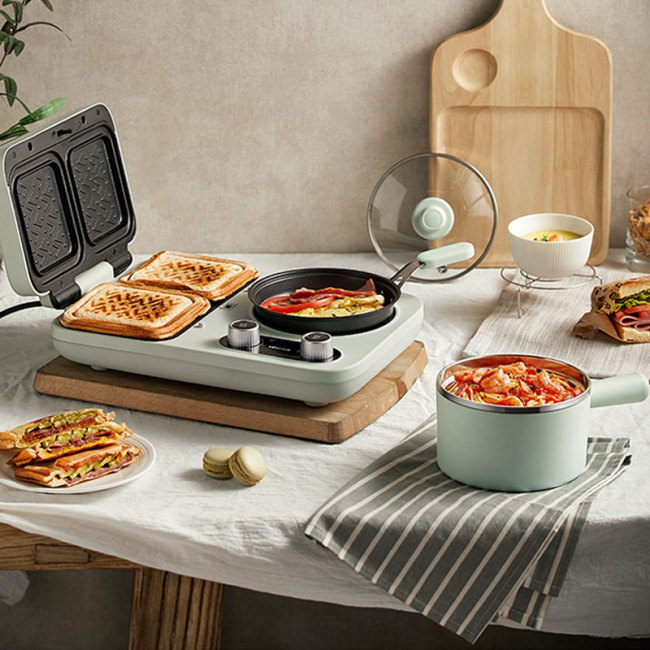 220V Multi Electric Waffle Baker Machine Non-stick Sandwich Breakfast Making Machine With Cooking Pot And Frying Pan
