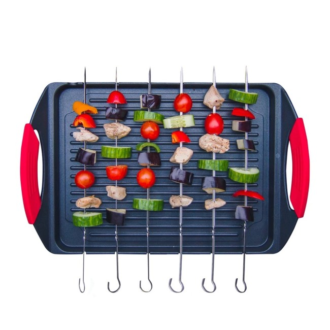 Cast Aluminium Griddle Plate & 6 Stainless Steel Skewers