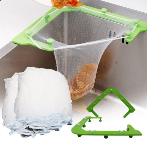 Multifunctional Triangle Drainage Rack Kitchen Sink Leftovers Filter Hanging Net Drain Basket Kitchen Anti-blocking Funnel