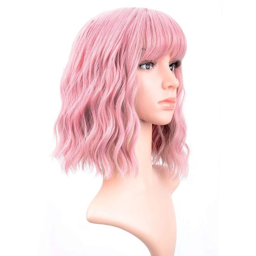INSTASTYLE Pastel Wavy Wig With Air Bangs Women's Short Bob Pink Wig Curly Wavy Shoulder Length Pastel Bob Synthetic Cosplay Wig for Girl Colorful Costume Wigs