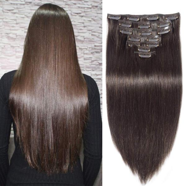 INSTASTYLE Brazilian Stright Clip In Hair Extensions 10A Grade 100% Remy Virgin Human Hair 7 Pieces 16 Clips Double Weft for full Head Dark Brown Color 22inch 160g
