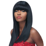 INSTASTYLE Bob Wigs with Bangs Synthetic Short Straight Hair Black Wigs for Women