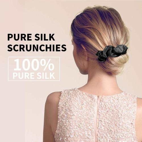 INSTASTYLE 100% Silk Scrunchies-Hair Ties-Ropes Hair Bands-No More Kinks-Bows Ropes Elastics Ponytail Holders for Women Girls Hair Accessories-No Hurt Your Hair(Black)