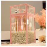 Pink square glass storage barrel ➕ white pearl