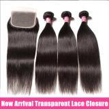 LM 10A Bundles Virgin Weaves Brazilian Straight Hair 3 Bundles with 4*4 Transparent Lace Closure
