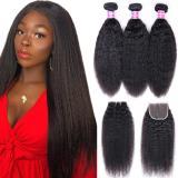 LM 10A Kinky Straight Bundles 4x4 Closure Virgin Weaves Brazilian Hair 3 Bundles With 4x4 Lace Closure