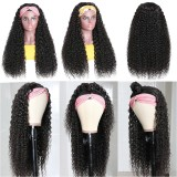 LM Hair Culy Human Hair Headband Wig Glueless Human Hair Wigs With Scarf Natural Density With Baby Hair