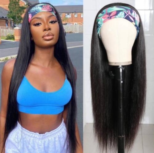 LM Customized Headband Wig Silky Straight Beginner Friendly Virgin Human Hair Wigs with Baby Hair