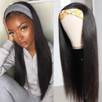 LM Hair Straight Human Hair Headband Long Straight Wig Glueless Human Hair Wigs With Scarf With Baby Hair