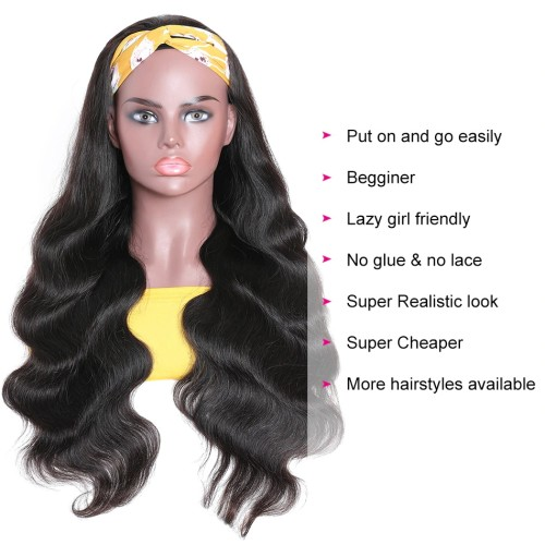 LM Hair Wavy Human Hair Headband  Body Wave Wig Glueless Human Hair Wigs With Scarf With Baby Hair