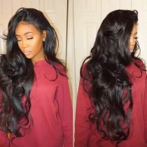 LM 10A Front Lace Long Wavy 13*4 Wig 130% density Natural Color Brazilian Virgin Human Hair Wig With Baby Hair